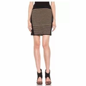 Rag & Bone Striped Black and Brown Mini Skirt Sz M